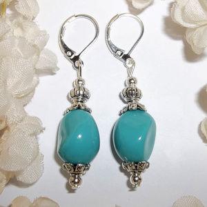Handmade Earrings Turquoise Blue & Silver Set 4992
